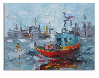 The calm - Original Oil Painting on Canvas Palette Knife - by SOLOMOON - gallery fine art ready to hang impasto bay ship sea river small