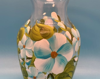 Hand Painted Glass Vase - Spring Garden - Blue - Small
