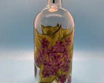 Hand Painted Glass Oil Bottle - Violets