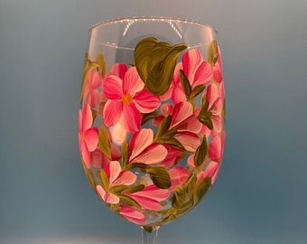 Hand Painted Wine Stems - Buds & Blossoms Pink on White