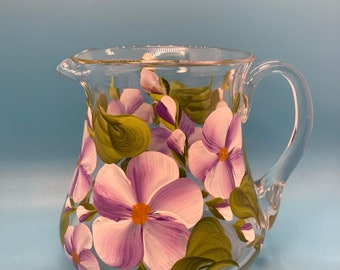 Hand Painted Glass Pitcher - Spring Garden Lavender - Small