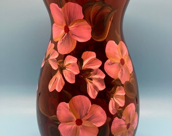 Hand Painted Glass Vase - Buds and Blossoms on Red Glass