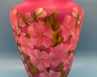 Hand Painted Glass Vase - Vines & Blossoms - Shimmer Me Pink on Frosted Pink Glass - Large