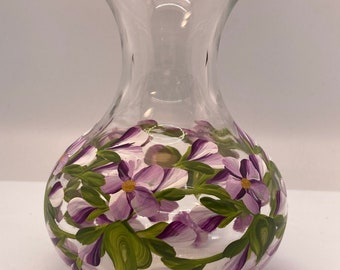 Hand Painted Glass Vases - Budding Vine Violet on White - Small 4 Inch