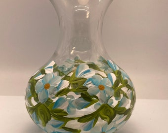 Hand Painted Glass Vases - Budding Vine Blue on White - Small 4 Inch