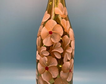 Hand Painted Glass Lighted Wine Bottle - Buds and Blossoms - Gold on White
