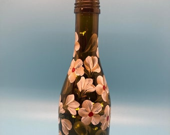 Hand Painted Glass Lighted Wine Bottle - SMALL - Buds & Blossoms - Gold on White