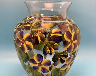 Hand Painted Glass Vase - Buds & Blossoms - Yellow on Deep Purple - Small