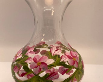 Hand Painted Glass Vases - Budding Vine Pink on White - Small 4 Inch