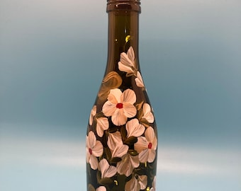 Hand Painted Glass Lighted Wine Bottle - SMALL - Vines & Blossoms - Gold on White