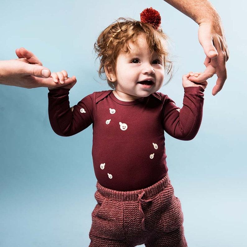 Polliwog Bordeaux Organic Long Sleeve Onesie. Organic cotton image 0