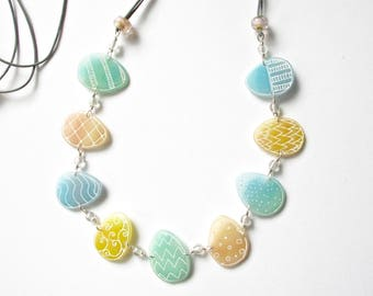 Easter Eggs Long Necklace- shrink plastic, leather and sterling silver
