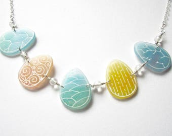 Easter Eggs Short Necklace- shrink plastic and sterling silver