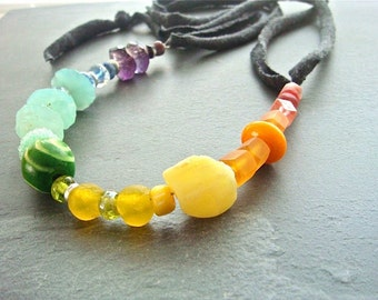 Rainbow Rock Necklace No. 2- upcycled T-shirt, gemstone, bone, resin, glass, sterling silver