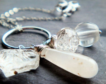 Icy Cluster Necklace No. 2- quartz crystal, Czech glass, and sterling silver
