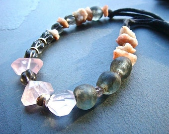 Strawberry Rock Necklace- upcycled T-shirt, gemstone, glass, and sterling silver
