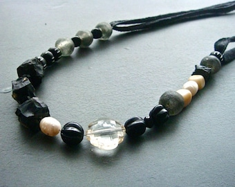 Black and Ivory Rock Necklace- upcycled T-shirt, gemstone, bone, glass, pearl