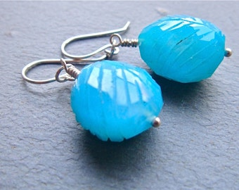 Cerulean Sky Earrings- chalcedony and sterling silver