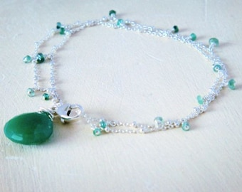 Tiny Emerald Double Bracelet- emerald, chalcedony, sterling silver
