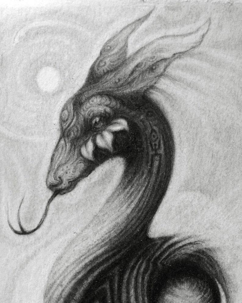 10x15cm Spirit Power Animals Crescent Moon Pencil Animal Illustration Deer Snake Moon Bird ~ Original Graphite Drawing