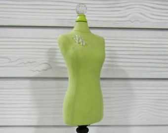 Green Mini Mannequin Form W/Needles