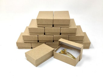 """LOT OF 25 50 100 KRAFT COTTON FILLED JEWELRY BOXES 8/"""" X 2/"""" X 1/"""""""