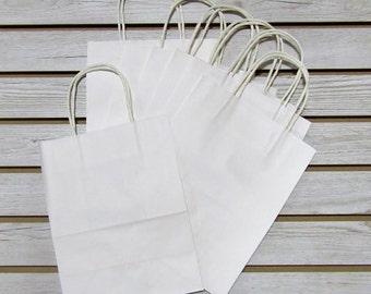 """8"""" X 4"""" X 10"""" White Kraft Bags - 20 Pcs"""