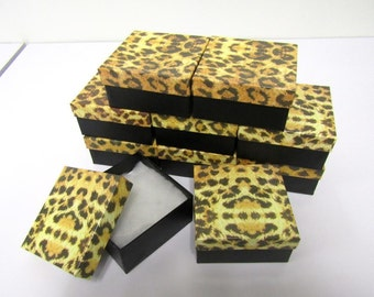 10 Pack LEOPARD Print Gift Boxes (3.75 x 3.75n x 2 in) // VERY CHIC //