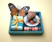 SALE Birthday Tray in Turquoise - Dollhouse Miniature 1/12 scale - Loose Set