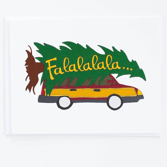 Christmas Vacation Tree On Car Holiday Card Funny Card Etsy