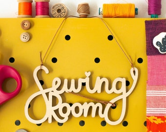 Sewing Room Sign made from Lasercut Wood