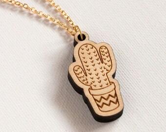 Cactus Necklace - Wooden Saguaro Pendant