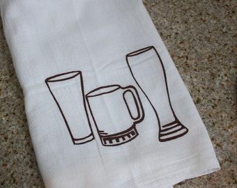Beer Glass screen printed Flour Sack kitchen towel