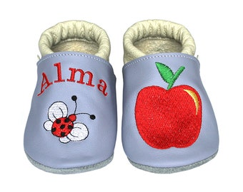 Personalized Leather Baby Booties, Embroidered Baby Shoes, Custom Kids Shoes, Lederpuschen mit Namen, Krabbelschuhe mit Namen, Apple Ladybug
