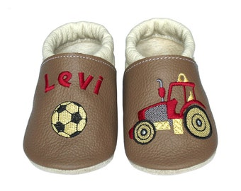 Personalized Leather Baby Booties, Embroidered Baby Shoes, Custom Kids Shoes, Lederpuschen mit Namen, Krabbelschuhe mit Namen, Tractor