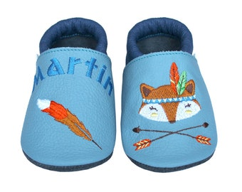 Personalized Leather Baby Booties, Embroidered Baby Shoes, Custom Kids Shoes, Lederpuschen mit Namen, Krabbelschuhe mit Namen, Native Tribal