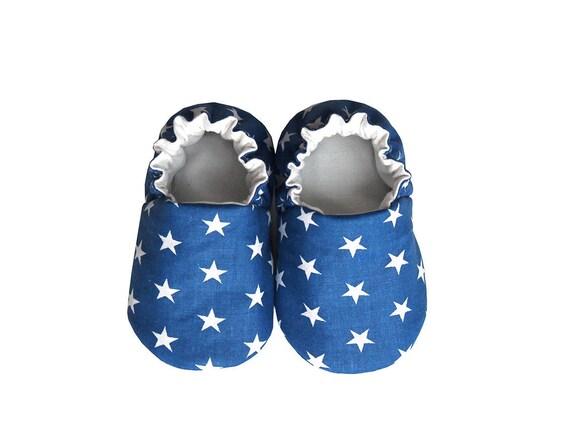 Chaussons bébé étoiles, chaussures de bébé, en coton pour bébé, nourrisson, nouveau-né, bleu marine, bleu, ciel