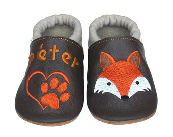 Personalized Leather Baby Booties, Embroidered Baby Shoes, Custom Kids Shoes, Lederpuschen mit Namen, Krabbelschuhe mit Namen, Fox Paw