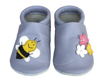 Leather Baby Booties, Bee Baby Shoes, Flower Infant, Newborn, Nursery, Children, Floral Baby Shower, Flower Soft Soled, Floral Baby, Bee