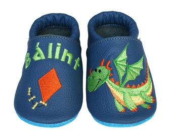 Personalized Leather Baby Booties, Embroidered Baby Shoes, Custom Kids Shoes, Lederpuschen mit Namen, Krabbelschuhe mit Namen, Dragon