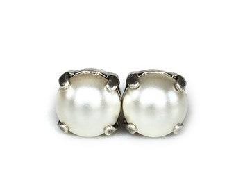Pearl Stud Earrings - Cream White - Stud Earrings - 8mm Round