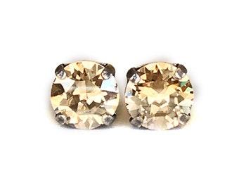 Gold Stud Earrings - Champagne - Stud Earrings - 8mm Round
