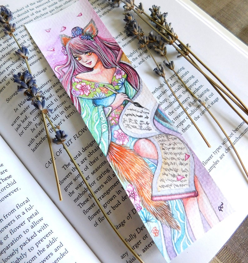 Little Fox Girl's Diary Original Watercolor Gouache Painting Bookmark Size  2x7 inches Fantasy Art