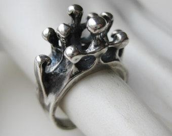 Brutalist Modernist Rhodochrosite 800 Silver Ring Mid Century Modern European Silver Ring Square Shank Signed BS  Ring
