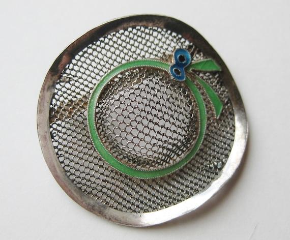 Vintage Sterling Silver Enamel Novelty Sun Hat Fi… - image 5