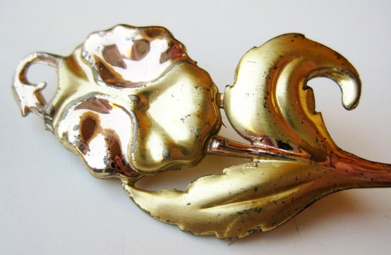Vintage 40s Gold Vermeil Sterling Silver Pansy Flo