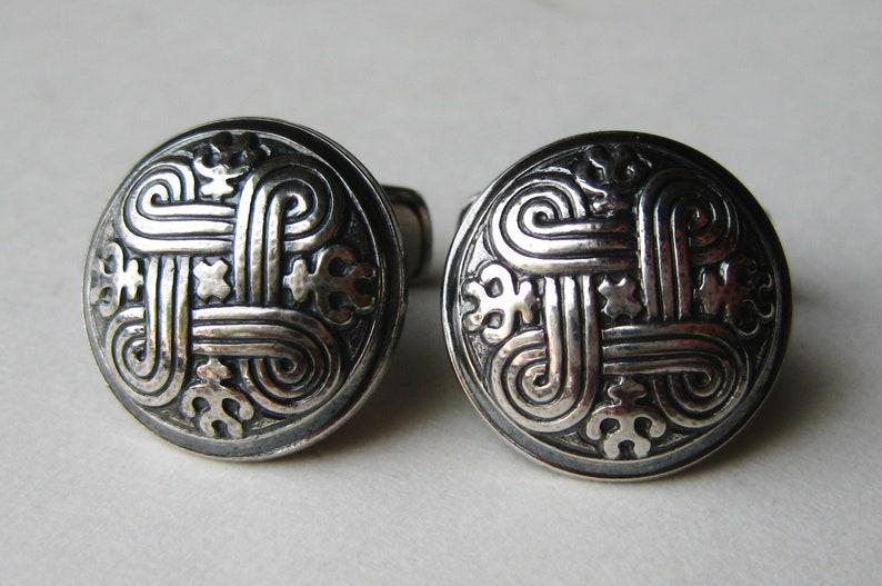 Vintage 70s Kalevala Koru Modernist Finland Sterling Silver St John/'s Arms Cufflinks Cuff Links