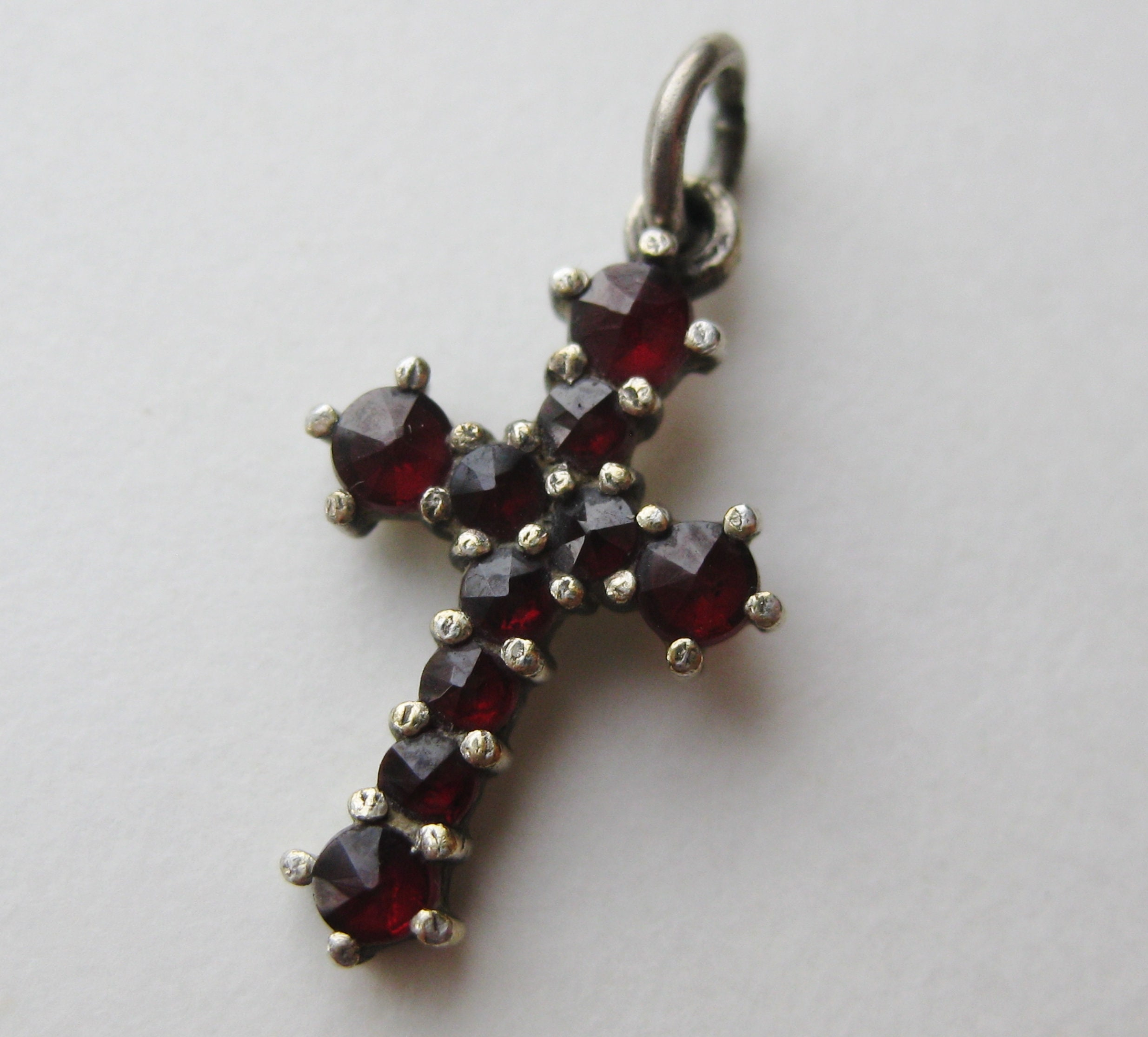 Sterling Silver Antiqued Rose Cross Pendant