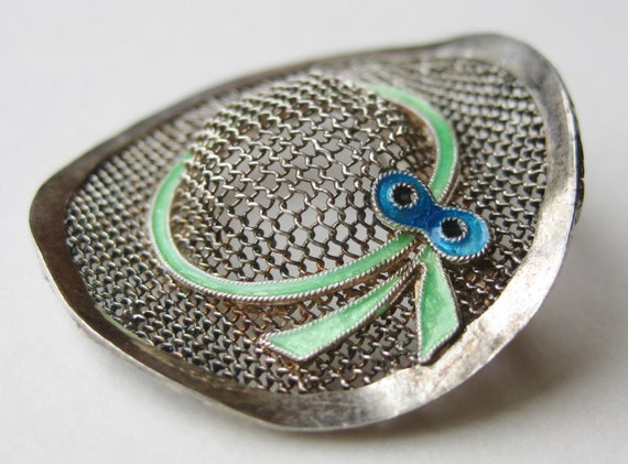 Vintage Sterling Silver Enamel Novelty Sun Hat Fi… - image 1