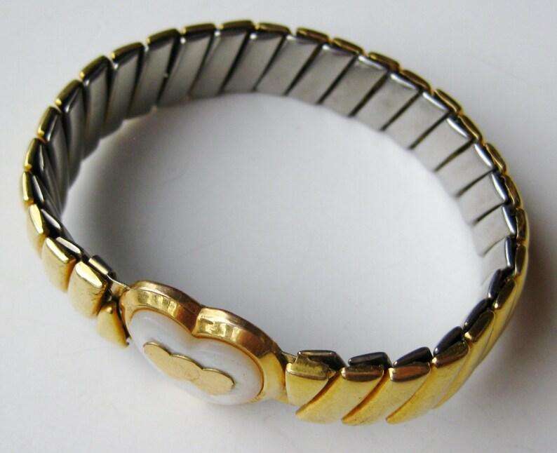 Vintage 12k Gold Filled Heart Shaped Sweetheart Expansion Stretch Bracelet